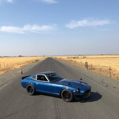 CP25 Wheels 16x8.5 wrapped in 245/50-16 tires on LSX powered Datsun 260Z S30