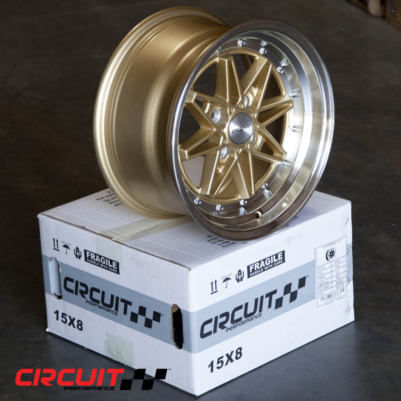 CP24 15x8 Gloss Gold/Machined 4x100 et25 Wheel - Circuit ...