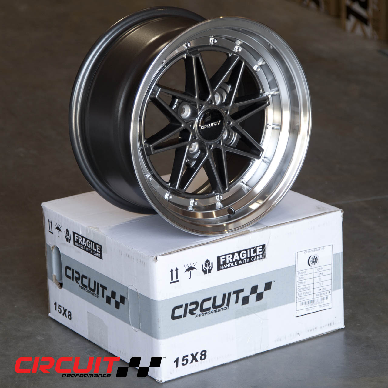 CP24 15x8 Gloss Gun Metal/Machined 4x100 et25 Wheel ...